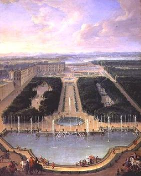 Perspective view of the chateau of Versailles seen from the Neptune Fountain 1696