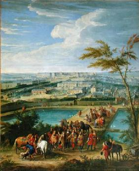 The Town and Chateau of Versailles from the Butte de Montboron, where Louis XIV (1638-1715) with Lou 1688
