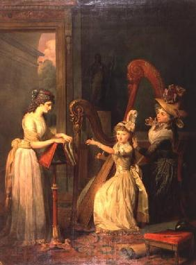 Harp lesson given by Madame de Genlis to Mademoiselle d'Orleans with Mademoiselle Pamela Turning the c.1842