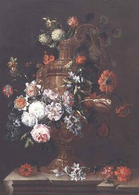 Still Life with Roses, Tulips and other Flowers in an Urn on a Stone Ledge