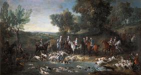 Louis XV (1710-1774) Stag Hunting in the Forest at Saint-Germain 1730