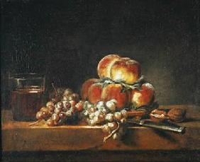 Still Life of Peaches, Nuts, Grapes and a Glass of Wine 1758
