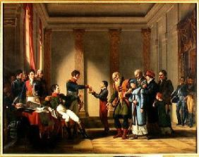 Napoleon Bonaparte (1769-1821) Giving a Pension of A Hundred Napoleons to the Pole, Nerecki, aged 11 1812