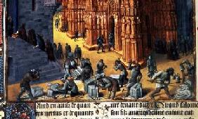 Fr 847 f.153 The Building of the Temple of Jerusalem, detail showing masons at work c.1470-76