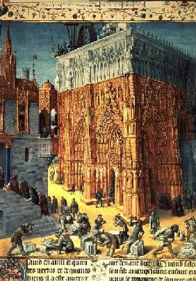 Building of the Temple of Jerusalem from an illuminated French translation of the original manuscrip c.1470-76