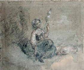 A Young Shepherdess Spinning (red & white chalk and charcoal on paper)