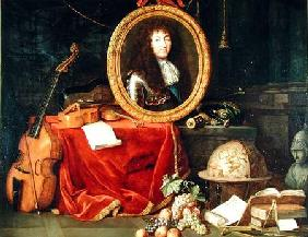 Still life with portrait of King Louis XIV (1638-1715) surrounded by musical instruments, flowers an 1672