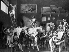 The Studio of Jacques Louis David (1748-1825) (pen & ink on paper)