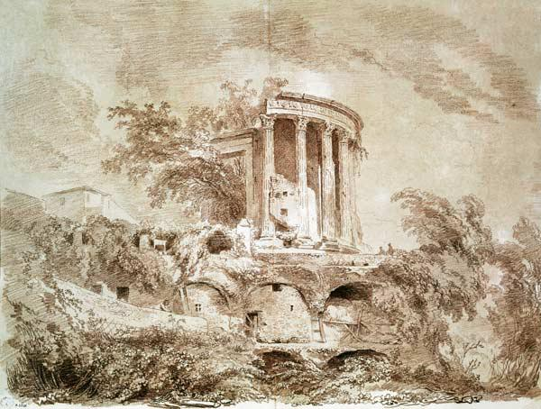 Fragonard, Jean Honor� : Temple of the Sybil at Tiv...