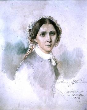 Portrait of Clara Schumann (1819-96) 1853
