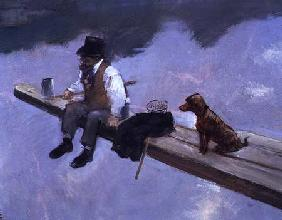 The Fisherman, detail of a man fishing 1884