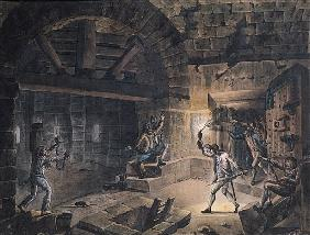 View of a cell in the Bastille at the moment of releasing prisoners on 14th July, 1789 (pen, ink & g