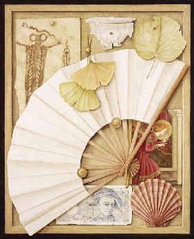 Trompe L''Oeil with Fan, 2005 (w/c on paper)