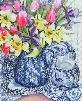 Daffodils, Tulips and Irises with Blue Antique Pots (w/c)