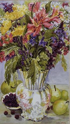 Blackberries and Apples with a Jug of Mixed Flowers (w/c)