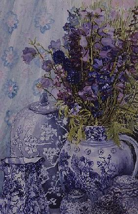 Delphiniums with Antique Blue Pots