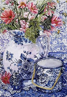 Gerberas in a Coalport Jug with Blue Pots (w/c)