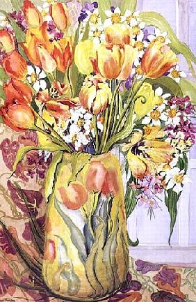 Tulips and Narcissi in an Art Nouveau Vase (w/c on paper)
