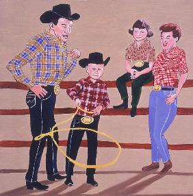 Cowboy Family, 2001 (oil & acrylic on panel)