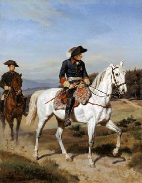 Kunstdruck von Johann Emil Hünten - Friedrich der Große vor Schweidnitz.