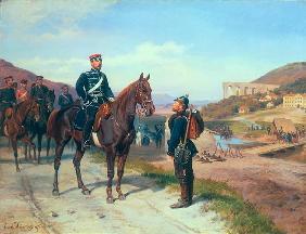 Kunstdruck von Johann Emil Hünten - Begegnung mit Prinz Friedrich-Carl von Preussen