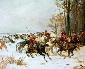 Kunstdruck von Johann Emil Hünten - Gefecht bei Hebecourt