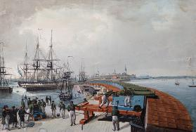 View of Revel, the harbour and the Russian coast artillery 1817