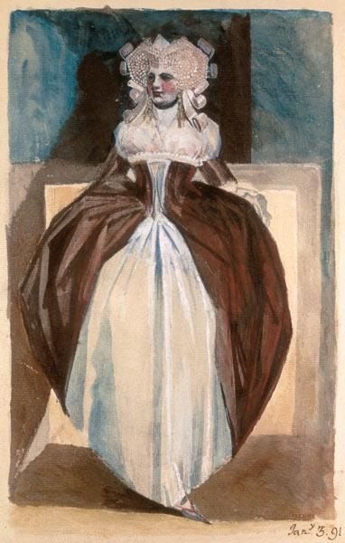 Woman in 17th century costume 1791