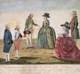 Meeting between Joseph II of Germany (1741-90) and Empress Catherine the Great (1729-96) at Koidak, 17th