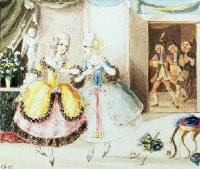 Fiordiligi and Dorabella watched from the doorway by Don Alfonso, Ferrando and Guglielmo, from 'Cosi 20th
