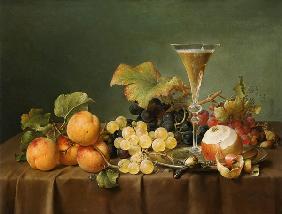 Kunstdruck von Johann Wilhelm Preyer - Früchtestilleben mit Sektkelch.