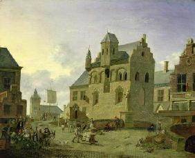 Town square with figures and peasants trading in a market place (panel)