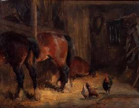 A Stable Interior with Horses and Chickens