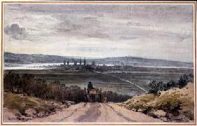 View of Oxford from Shotover Hill in Floodtime, When the Water was Out, 10th January 1791  over