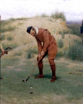 During the Time of the Sermonses, detail of the golfer 1896