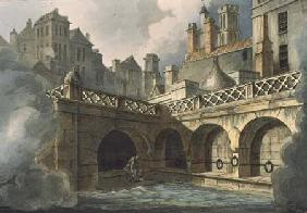Inside of Queen's Bath, from 'Bath Illustrated by a Series of Views', engraved by John Hill (1770-18 1804