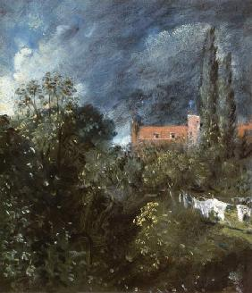 View in a garden with a red house beyond