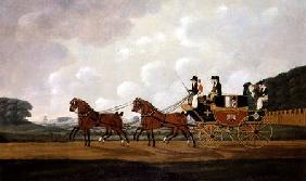 Messrs. Richard Costar and Christopher Ibberson's Ludlow to Worcester Mail Coach on the Road 1811