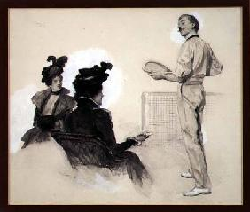 'It was Out!', Two Women Watching a Man Play Tennis, 1898 (gouache, pen and