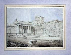 View of the Braccio Nuovo in the Cortile del Belvedere, Vatican Palace, Rome c.1820-21