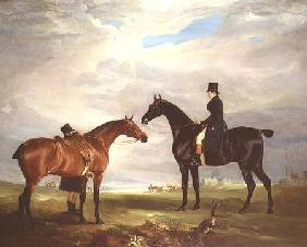 Frank Hall Standish on his Black Hunter with a Groom and a Second Horse 1819