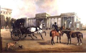 Mr. Massey Stanley with cabriolet and hacks at Hyde Park Corner 1833