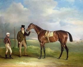 The Marquess of Cleveland's 'Chorister', held by trainer John Day Snr., with jockey John Day Jnr., a 1831
