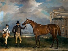General Chasse, a chestnut racehorse being held by his trainer, with his jockey, J. Holmes standing 1835