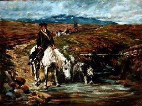 Horse and Spaniel Drinking from a Stream