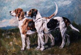 Pair of Foxhounds 1900