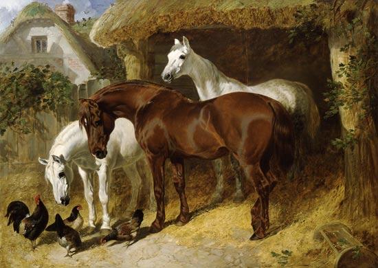 Pferde und h hner auf einem bauernhof john frederick for Piani di fattoria con foto