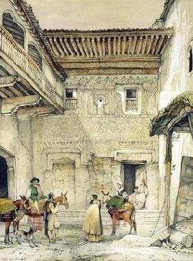 Court of the Mosque (Patio de la Mesquita), from 'Sketches and Drawings of the Alhambra', 1835 (lith 14th
