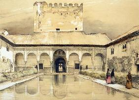 Court of the Myrtles (Patio de los Arrayanes) and the Tower of Comares, from 'Sketches and Drawings 14th