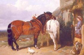 Carthorses by a Cottage Door 1854
